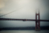The Golden Gate Bridge blurred on a misty evening, San Francisco, California, USA.