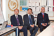 07/10/2012. Repro free first use. The Galway Education Centre announced that is to become the regional training centre in the west of Ireland for Chinese Language and Culture in partnership with The UCD Confucius Institute for Ireland. Unveiling a plaque at the GAlway education centre were Wu Xiaochuang 2nd secretary of Chinese embassy,  Dr. Liming Wang Director UCD Confucius Institute for Ireland and  Bernard Kirk Director the Galway education centre. Picture:Andrew Downes