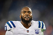 NASHVILLE, TN - DECEMBER 30:  Darius Leonard #53 of the Indianapolis Colts on the field after a game against the Tennessee Titans at Nissan Stadium on December 30, 2018 in Nashville, Tennessee.  The Colts defeated the Titans 33-17.   (Photo by Wesley Hitt/Getty Images) *** Local Caption *** Darius Leonard