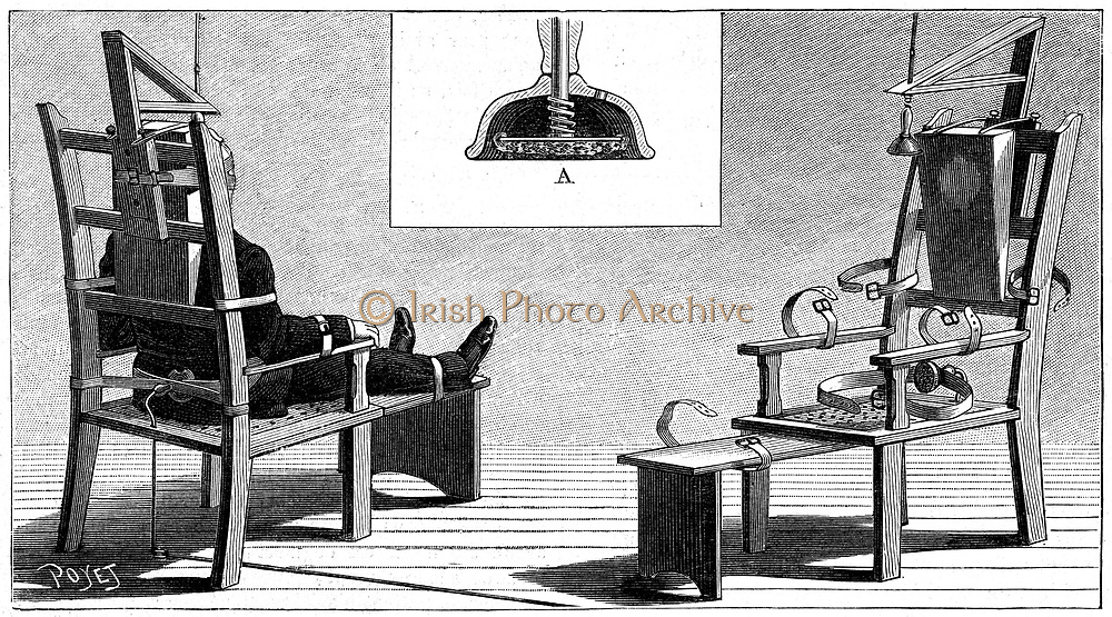 Electric Chair. Kemmler, first man executed in an electric chair, Auburn Prison, USA, 6 August 1890. Westinghouse AC system used. Three surges needed. Wood engraving 'La Nature' Paris, 6 September 1890