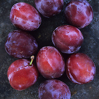 Red Opal plums with their white bloom lying on tarnished metal plate