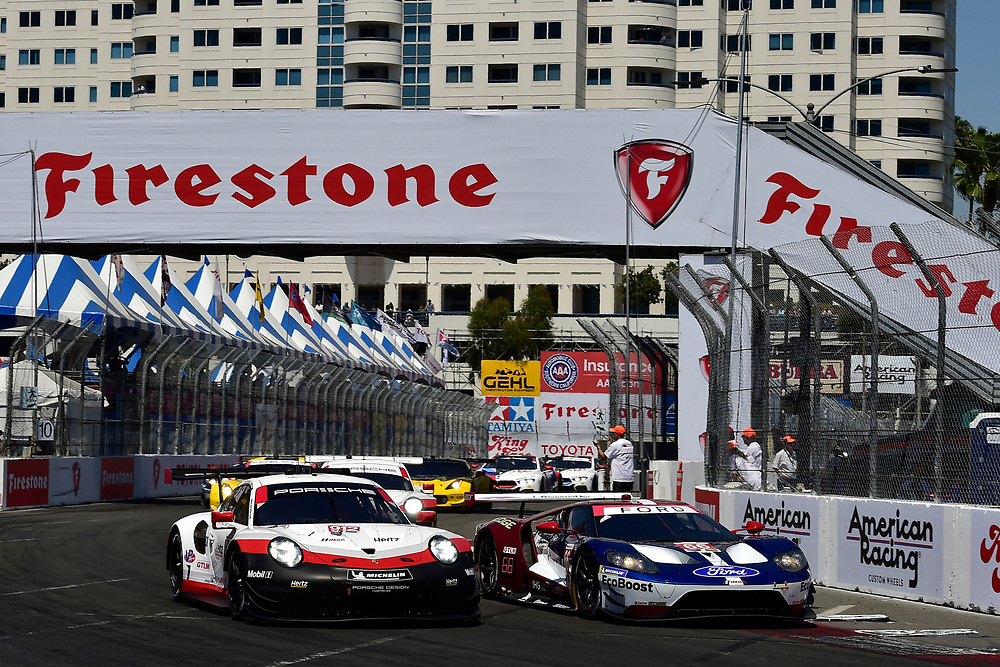 #912 Porsche Team North America Porsche 911 RSR, GTLM: Laurens Vanthoor, Earl Bamber, #66 Chip Ganassi Racing Ford GT, GTLM: Dirk M&uuml;ller, Joey Hand<br /> Saturday 14 April 2018<br /> BUBBA burger Sports Car Grand Prix at Long Beach<br /> Verizon IndyCar Series<br /> Streets of Long Beach CA USA<br /> World Copyright: Scott R LePage<br /> LAT Images