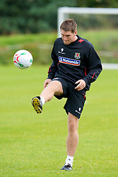 WREXHAM, WALES - Monday, August 18, 2008: Wales' Sam Vokes training at Colliers Park ahead of their UEFA European U21 Championship Group 10 Qualifying match against Romania. (Photo by David Rawcliffe/Propaganda)