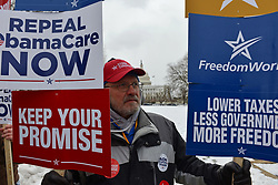 March 15, 2017 - Washington, District of Columbia, U.S. - Conservative voters and politicians hold a rally outside the U.S. Capitol demanding complete repeal of the Affordable Care Act, also known as Obamacare, and criticizing a replacement plan put forward by House Speaker Paul Ryan and others.  The rally was sponsored by FreedomWorks, a conservative and libertarian advocacy group based in Washington D.C. (Credit Image: © Jay Mallin via ZUMA Wire)