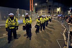 © Licensed to London News Pictures. 04/09/2014. Cardiff, UK.  Police at Cardiff Castle on Thursday evening during protests against the NATO summit being held at The Celtic Manor resort at Newport. Heads of state were due to have dinner at Cardiff Castle.  Photo credit : Simon Chapman/LNP