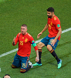 MOSCOW, RUSSIA - Sunday, July 1, 2018: Spain's Sergio Ramos celebrates as if he scored the first goal, which was an own-goal, with team-mate Diego Costa during the FIFA World Cup Russia 2018 Round of 16 match between Spain and Russia at the Luzhniki Stadium. (Pic by David Rawcliffe/Propaganda)