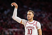 FAYETTEVILLE, AR - MARCH 9:  Daniel Gafford #10 of the Arkansas Razorbacks reacts after hitting a jump shot during a game against the Alabama Crimson Tide at Bud Walton Arena on March 9, 2019 in Fayetteville, Arkansas.  The Razorbacks defeated the Crimson Tide 82-70.  (Photo by Wesley Hitt/Getty Images) *** Local Caption *** Daniel Gafford