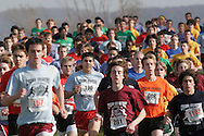 Warwick, N.Y. - Runners compete in the Class AA boys' race at the New York State Public High School Athletic Association cross country championships at Sanfordville Elementary School on Nov. 11, 2006.<br />