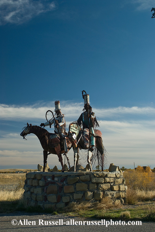 Southern border Blackfeet Indian Reservation, Montana, Guardians of the Reservation sculpture by Jay laben