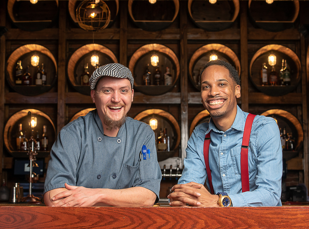 Photography ©Mara Lavitt<br /> November 26, 2018<br /> <br /> The Press restaurant, 187 Allyn St. Hartford.<br /> <br /> Chef Matthew Terase, left, general manager Starling Arch IV.