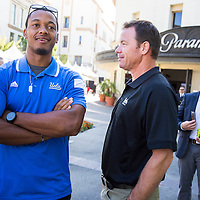 UCLA football quarterback Brett Hundley and coach Jim Mora. Hundley was entering his senior year as a Heisman Trophy candidate.