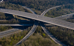 © Licensed to London News Pictures. 26/03/2020. London, UK. Very little traffic is seen at 08:44am on the M25 junction with the M23 as the UK continues in lockdown to halt the spread of corona virus. Photo credit: Peter Macdiarmid/LNP
