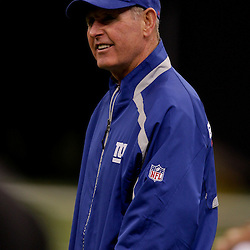 2009 October 18: New York Giants head coach Tom Coughlin on the sideline before kickoff of a 48-27 win by the New Orleans Saints over the New York Giants at the Louisiana Superdome in New Orleans, Louisiana.