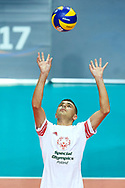 Katowice, Poland - 2017 September 02: Athlete Mateusz Rorot from SO Poland receives the ball while SO Poland versus SO Czech Republic match during European Unified Volleyball Tournament 2017 at Spodek Hall on September 02, 2017 in Katowice, Poland.<br /> <br /> Adam Nurkiewicz declares that he has no rights to the image of people at the photographs of his authorship.<br /> <br /> Picture also available in RAW (NEF) or TIFF format on special request.<br /> <br /> Any editorial, commercial or promotional use requires written permission from the author of image.<br /> <br /> Image can be used in the press when the method of use and the signature does not hurt people on the picture.<br /> <br /> Mandatory credit:<br /> Photo by © Adam Nurkiewicz / Mediasport