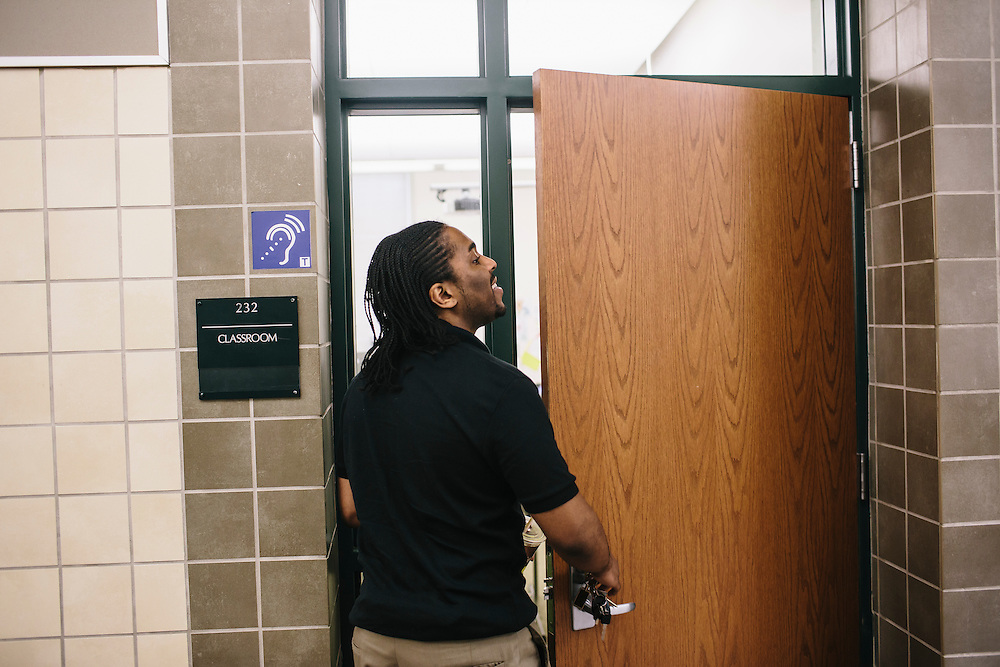 Marc Davis unlocks the door to his classroom at Woodrow Wilson High School in Washington DC. Currently Davis, 23, is filling in for another teacher on leave, but he hopes to turn this full-time job into a permanent position.