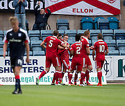 Aberdeen&rsquo;s James Maddison is congratulated after scoring  after scoring the equaliser - Dundee v Aberdeen in the Ladbrokes Scottish Premiership at Dens Park, Dundee. Photo: David Young<br /> <br />  - &copy; David Young - www.davidyoungphoto.co.uk - email: davidyoungphoto@gmail.com