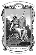 Moses with the tablets inscribed with the Ten Commandments.  'Bible' Exodus 34. Copperplate engraving c1808.
