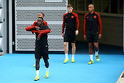Bacary Sagna of Manchester City walks out to train with Raheem Sterling, John Stones and Vincent Kompany - Mandatory by-line: Matt McNulty/JMP - 12/09/2016 - FOOTBALL - Manchester City - Training session ahead of Champions League Group C match against Borussia Monchengladbach
