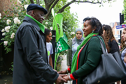 © Licensed to London News Pictures. 14/06/2019. London, UK. Survivors, family and friends of the victims and community members are greeted as they arrive at St Helen's Church to commemorate the second anniversary of the Grenfell Tower fire service. On 14 June 2017, just before 1:00am a fire broke out in the kitchen of the fourth floor flat at the 24-storey residential tower block in North Kensington, West London, which took the lives of 72 people. More than 70 others were injured and 223 people escaped. Photo credit: Dinendra Haria/LNP