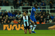 Joelinton (#9) of Newcastle United reacts after he feels he should have been awarded a free kick for a push in the back during the Premier League match between Newcastle United and Chelsea at St. James's Park, Newcastle, England on 18 January 2020.