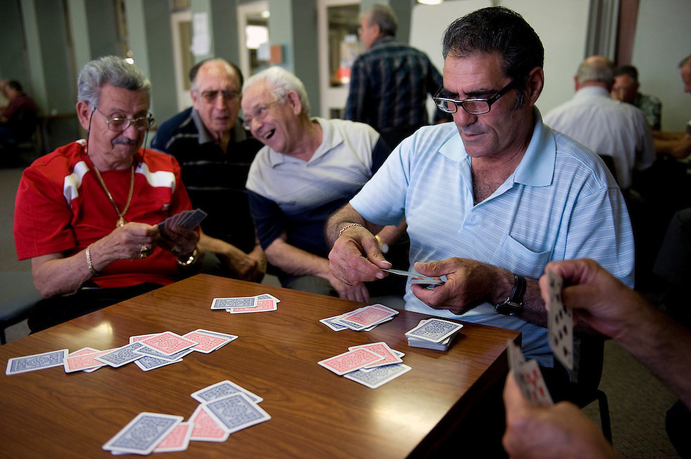 Playing cards in the back room at The Italian Club .Vince Piscitelli, Frank Ianello, Pipp (Guiseppe) Ricsardi and Pipp (Guiseppe) Collica