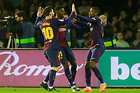 FC Barcelona's Leo Messi, Ousmane Dembele and Nelson Semedo celebrate goal during La Liga match. April 17,2018. (ALTERPHOTOS/Acero)