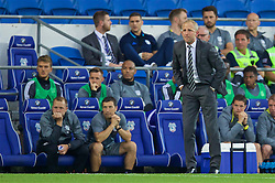 CARDIFF, WALES - Wednesday, August 17, 2016: Cardiff City's manager Paul Trollope with  goalkeeping coach Martyn Margetson and head of performance Ryland Morgans during the Football League Championship match against Blackburn Rovers at Cardiff City Stadium. (Pic by David Rawcliffe/Propaganda)