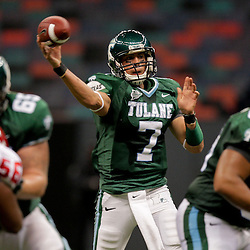 Oct 17, 2009; New Orleans, LA, USA; Tulane Green Wave quarterback Joe Kemp (7) throws a pass during the first half against the Houston Cougars at the Louisiana Superdome. Mandatory Credit: Derick E. Hingle-US PRESSWIRE