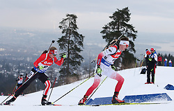 10.03.2016, Holmenkollen, Oslo, NOR, IBU Weltmeisterschaft Biathlion, Oslo, 20km, Herren, im Bild Rafal Penar (POL), Scott Gow (CAN) // during Mens 20km individual Race of the IBU World Championships, Oslo 2016 at the Holmenkollen in Oslo, Norway on 2016/03/10. EXPA Pictures © 2016, PhotoCredit: EXPA/ Newspix/ Tomasz Jastrzebowski<br /> <br /> *****ATTENTION - for AUT, SLO, CRO, SRB, BIH, MAZ, TUR, SUI, SWE only*****
