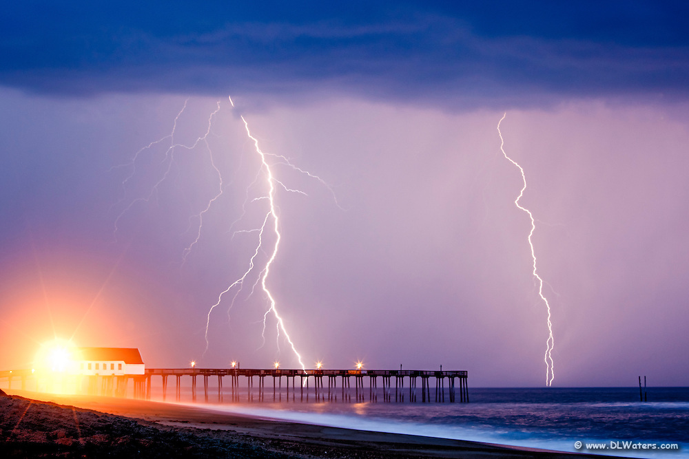 Lightning storm at Kitty Hawk Fishing Pier NC.