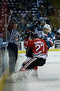 KELOWNA, CANADA - APRIL 07:  Rodney Southam #17 of the Kelowna Rockets, Brad Ginnell #27 of the Portland Winterhawks at the Kelowna Rockets game on April 07, 2017 at Prospera Place in Kelowna, British Columbia, Canada.  (Photo By Cindy Rogers/Nyasa Photography,  *** Local Caption ***