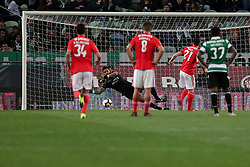 February 3, 2019 - Lisbon, Portugal - Benfica's Portuguese midfielder Pizzi shoots to score a penalty during the Portuguese League football match Sporting CP vs SL Benfica at Alvalade stadium in Lisbon, Portugal on February 3, 2019. (Credit Image: © Pedro Fiuza/NurPhoto via ZUMA Press)