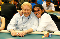 20 February 2011: NBA Lakers owner Dr. Jerry Buss with poker pro Scott Nguyen at the 2011  World Poker Tour WPT Celebrity Invitational at the Commerce Casino in Los Angeles, CA.