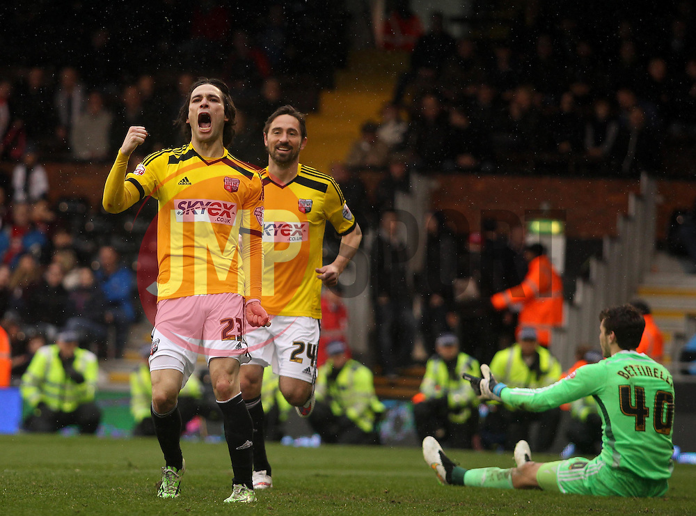 Brentford's Jota celebrates scoring - Photo mandatory by-line: Robbie Stephenson/JMP - Mobile: 07966 386802 - 03/04/2015 - SPORT - Football - Fulham - Craven Cottage - Fulham v Brentford - Sky Bet Championship