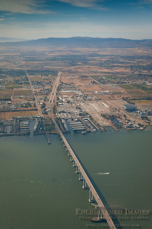 Aerial over the Antioch Bridge crossing the San Joaquin River, Antioch, California