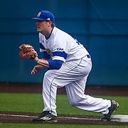 Delaware Infielder Nick Liggett (22) covers first base during a regular season baseball game between Delaware and Saint Joseph's at Bob Hannah Stadium Tuesday April 19, 2016, in Newark.