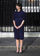 © under license to London News Pictures. 11/05/10. Samantha Cameron watches her husband David Cameron as he makes a speech telling the media he has accepted Queen Elizabeth II's invitation to form a new Government. British Prime Minister Gordon Brown has resigned his position and David Cameron has become the new British Prime Minister on May 11, 2010. The Conservative and Liberal Democrats are to form a coalition government after five days of negotiation. Photo credit should read Stephen Simpson/LNP