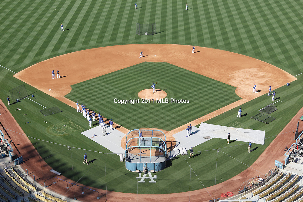 LOS ANGELES, CA - APRIL 15:  Overhead general view of batting practice at the game between the St. Louis Cardinals and the Los Angeles Dodgers on Friday April 15, 2011 at Dodger Stadium in Los Angeles, California. (Photo by Paul Spinelli/MLB Photos via Getty Images)