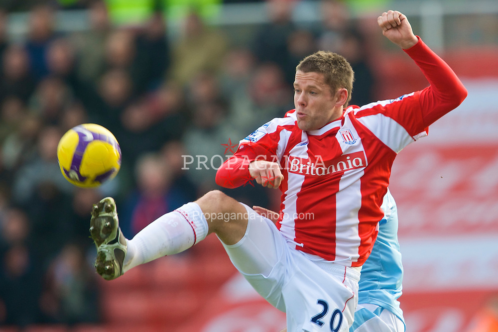 STOKE-ON-TRENT, ENGLAND - Saturday, January 31, 2009: Stoke City's James Beattie in action against Manchester City during the Premiership match at the Britannia Stadium. (Mandatory credit: David Rawcliffe/Propaganda)