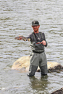 Robert Albers, of Bozeman, Montana, with a nice rainbow trout taken on the Madison River.