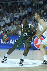 April 25, 2018 - Madrid, Madrid, Spain - GIST  JAMES of Panathinaikos Superfoods in action against  during the Turkish Airlines Euroleague play-off quarter final series third match between Real Madrid and Panathinaikos Superfoods at the Wizink Center in Madrid, Spain on April 25, 2018  (Credit Image: © Oscar Gonzalez/NurPhoto via ZUMA Press)