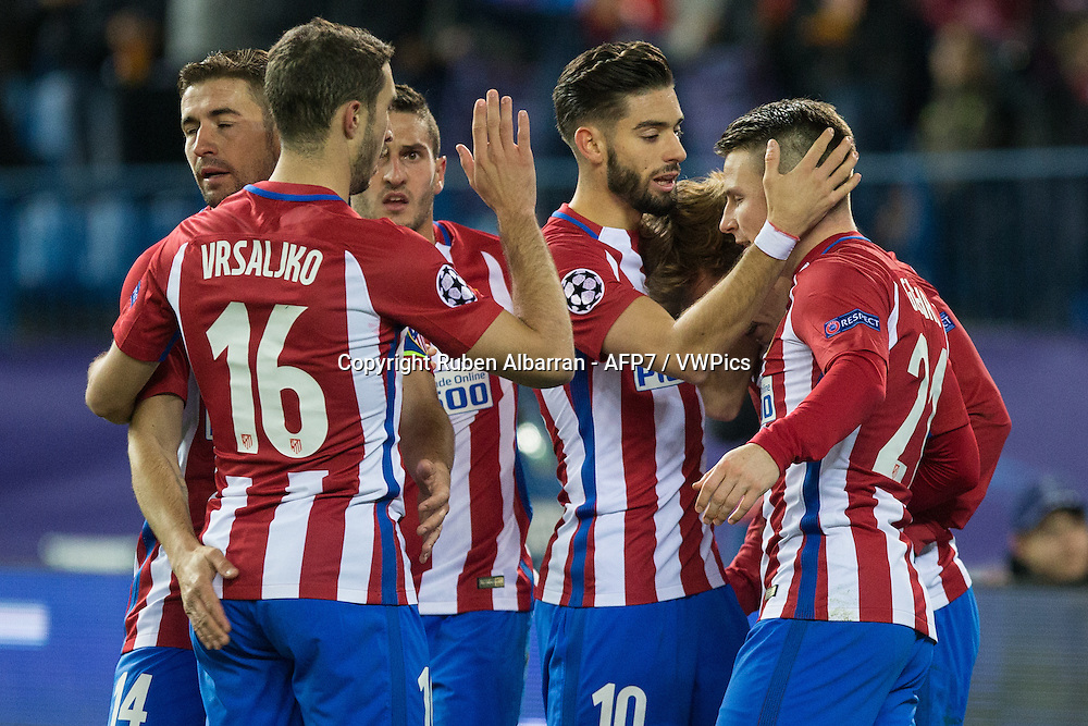Atletico Madrid players celebrating goal of Kevin Gameiro during the UEFA Champions League match between Atletico Madrid and PSV Eindhoven at the Vicente Calderon Stadium in Madrid, Wednesday, November 23, 2016.