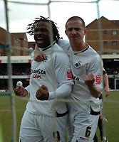 Photo: Tony Oudot/Richard Lane Photography. <br /> Southend United v Swansea City. Coca-Cola League One. 21/03/2008. <br /> Jason Scotland celebrates his goal with Ferrie Bodde