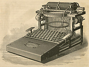 George Yost's 'Caligraph' typewriter of 1880. Engraving.