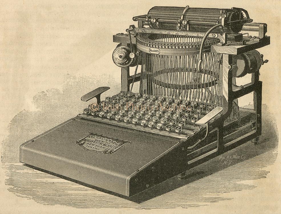 George Yost's 'Caligraph' typewriter of 1880. Engraving.