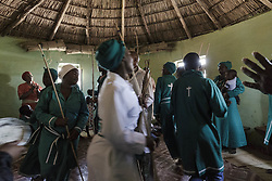 January 14, 2018 - Matatiele, Eastern Cape, South Africa - About twenty-five people visit the Sunday church service. The attendees are family members, close friends and neighbours. The service lasts for more than three hours. The Sunday service is very important amongst the Xhosa and Sotho people. It creates positive spirits in the communities, togetherness and a network of support. The ceremonies can become emotional when attendees occassionally cry, scream, sing or stomp their feet to the rhythm of the drums. (Credit Image: © Stefan Kleinowitz/ZUMA Wire)