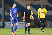 FC Halifax Town forward Dayle Southwell (9) shares a joke with the referee Rebecca Welch during the Vanarama National League match between FC Halifax Town and Dover Athletic at the Shay, Halifax, United Kingdom on 17 November 2018.