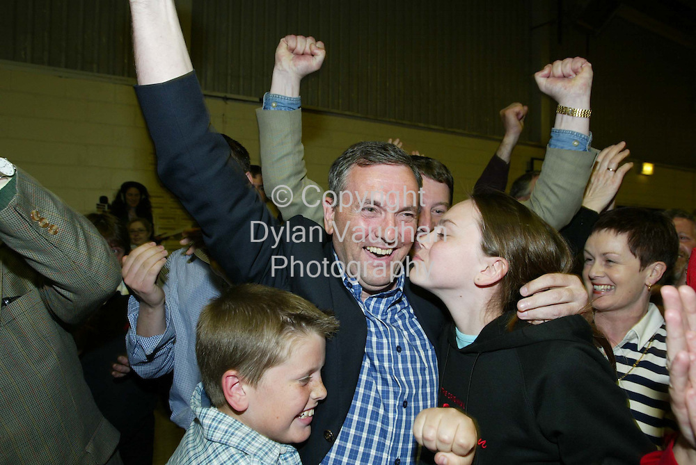 19/5/2002 .Fianna Fails John McGuinness pictured celebrating his election at the count centre in the community hall in Thomastown County Kilkenny..Picture Dylan Vaughan