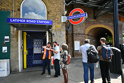 © Licensed to London News Pictures. 17/06/2017. London, UK. Latimer Road tube station closed after concerns were raised for the structural safety of nearby Grenfell tower block in west London , following a fire earlier this week. The blaze engulfed the 27-storey building killing 12 - with 34 people still in hospital, 18 of whom are in critical condition. The fire brigade say that they don't expect to find anyone else alive. Photo credit: Ben Cawthra/LNP