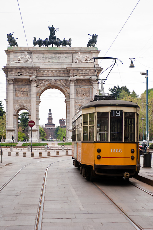 MILAN, ITALY - APRIL 7: Arco della Pace in Milan on April 6, 2012, This famous landmark was built in 1807 by architect Luigi Cagnola under the Napoleonic rule.
